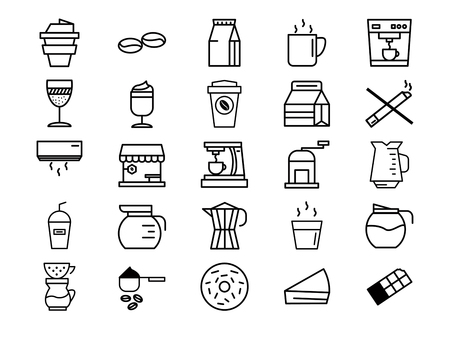 Outline coffee icon set Illustration