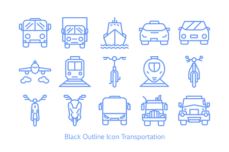 Outline style Transportation Icon Set