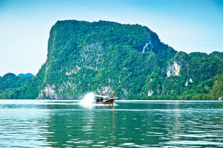 long tailed boat: lsland,Tourist boat, south of Thailand Stock Photo