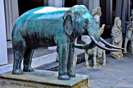Sculpture Copper elephant  in the wat arun temple of thailand photo