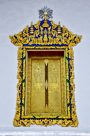 church interior: Gilded Black Lacquer , traditional thai style temple window