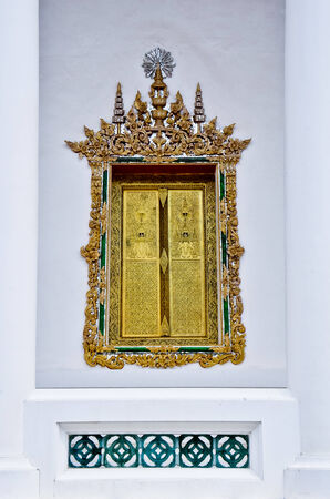 thai style: Gilded Black Lacquer , traditional thai style temple window