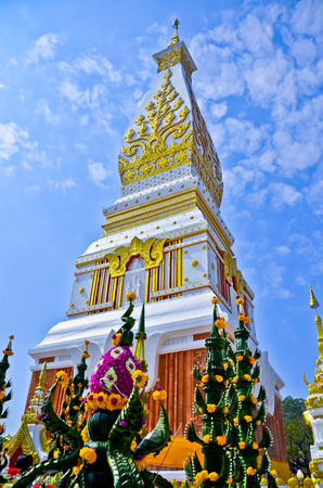 low relief: Wat pha tat phanom,Pagoda in Thailand