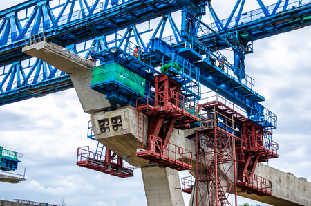 The construction of flyovers with innovation. Stock Photo