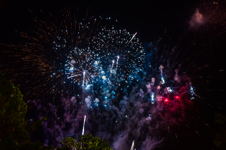 A beautiful fireworks display to celebrate the New Year. Stock Photo