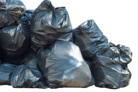 Pile of black garbage bags isolated on a white background Archivio Fotografico