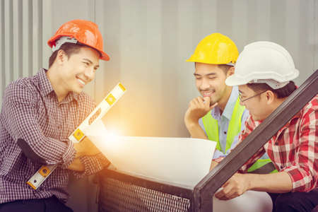 Close up of Happy business engineer man team at construction site, Happiness and success teamwork concept