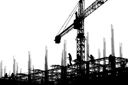 Silhouette of Engineer and worker on building site, construction site with clipping path on white background for concept. Stock Photo