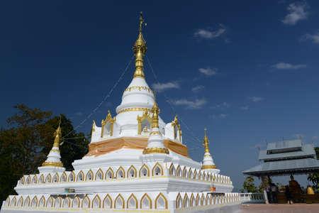 grand son: Phrathat Jom Kitti, Mae Sariang : Mae Hong Son province Northern of Thailand Stock Photo