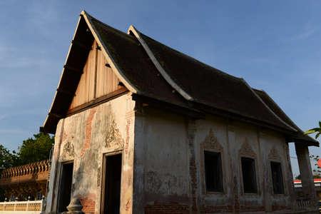 korat: Old church before sunset at Wat Mai Amphawan, Korat Thailand