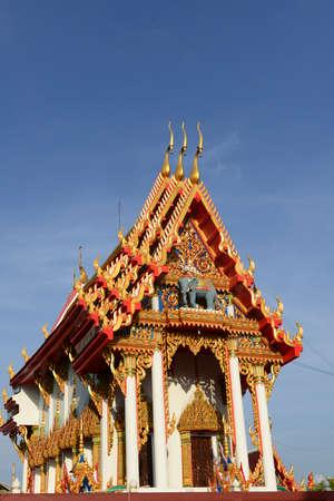 phrom: Beautiful Thai sculpture in temple. Wat Khok Phrom, Korat Thailand Stock Photo