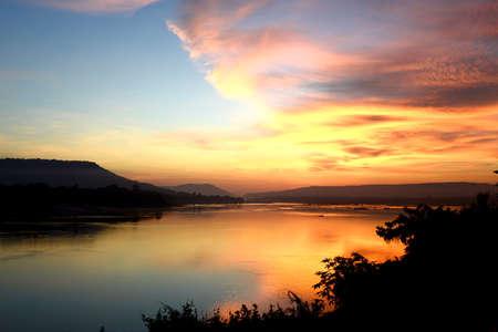 khong river: Good Morning Mae Khong river, border of Thailand and Laos, Twilight sky background