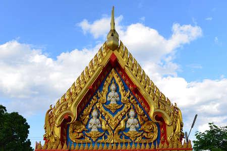 korat: Beautiful Thai sculpture in temple. Wat NongJabok, Korat Thailand.