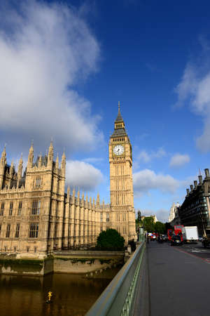 water bus: LONDON - JUNE 28, 2015 : View of the Westminster Bridge and Big Ben, the Palace of Westminster, the icons of England, capital of UK, Europe. June 28, 2015 in London, UK.
