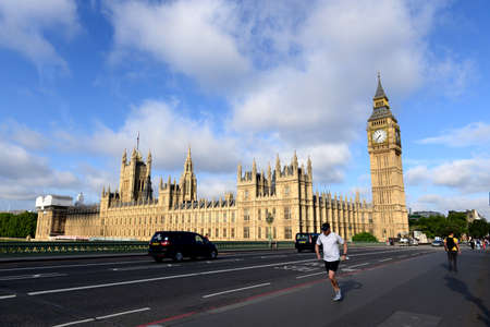 water bus: LONDON - JUNE 28, 2015 : View of Runner on the Westminster Bridge and Big Ben, the Palace of Westminster, the icons of England, capital of UK, Europe. June 28, 2015 in London, UK.