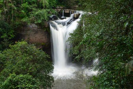 korat: Haew Suwat, A beautiful waterfall in KhaoYai National Park - Korat Thailand Stock Photo