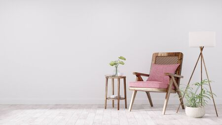 Modern vintage interior of living room, Armchair with pink cushion - 3D Rendering