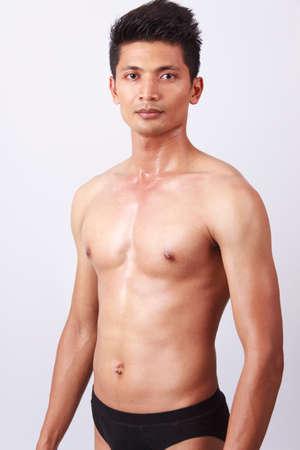 attractive male body with black underwear Reklamní fotografie