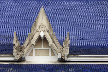 Old blue gable roof Thai pattern
