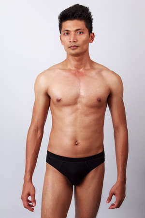 attractive male body with black underwear Stock Photo