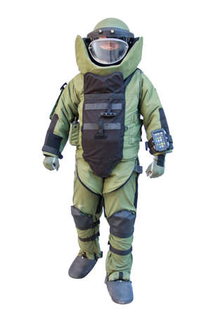 Bomb suit isolated on white for EOD team