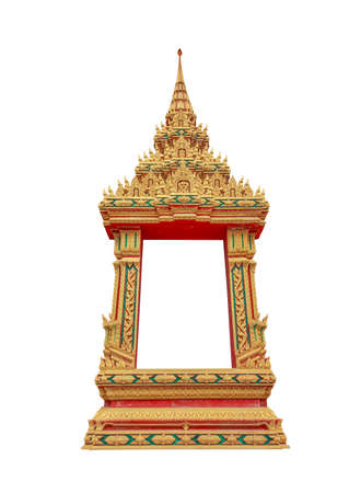 vintage furniture: Pattern of the window  temple, Thailand on a white background and clipping path.