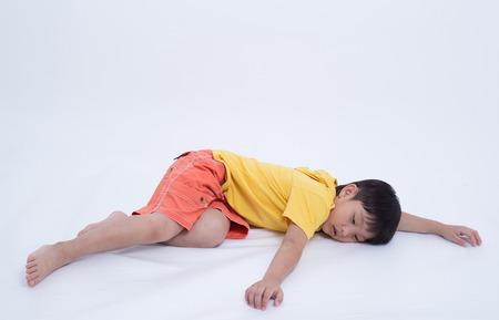 coma: asian boy exhausted fainting sleep coma