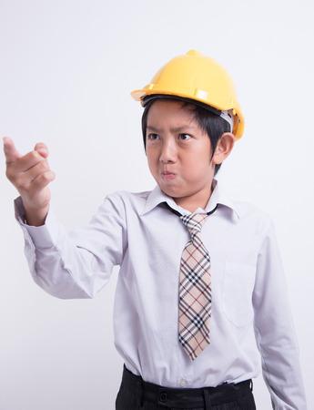 blame: asian boy businessman engineer helmet blame angry  blame