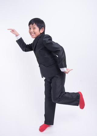 jovial: asian boy businessman boss suit happy cute jovial fun