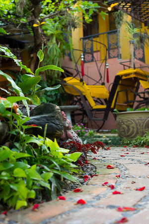 boutique hotel: boutique hotel preriod retro carriage classic home decor nature garden walkway