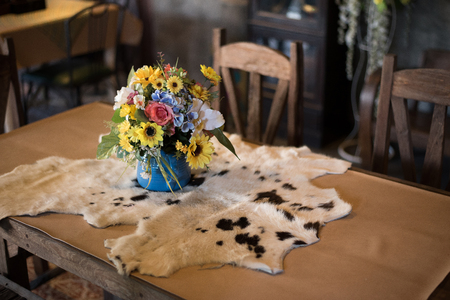 cow skin: table country decor style wool cow skin wood restaurant flower