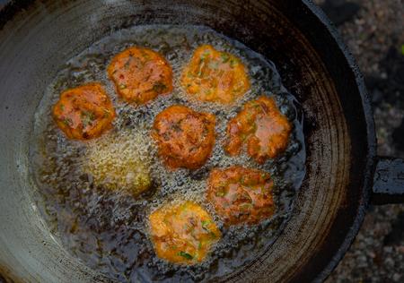 pan asian: fish cake food pan oil fried  asian eat Stock Photo