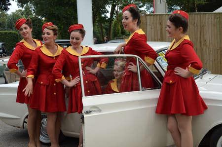 revival: Glamorous girls at the Goodwood Revival in September 2014.  Editorial