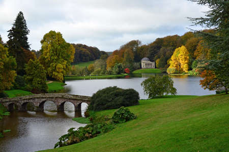 Formal garden in England during Autumn.