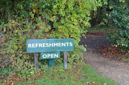 refreshments: Refreshments open sign. Stock Photo