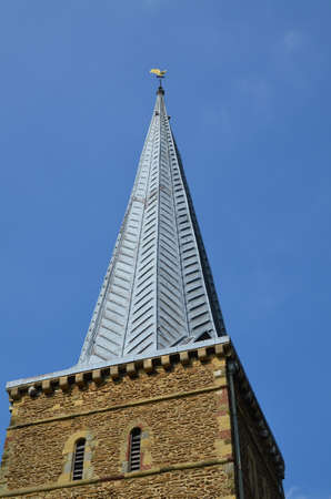 steeple: Church Steeple in Godlaming Surrey England. Stock Photo