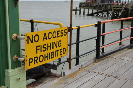 access restricted: no access fishing prohibited sign Stock Photo