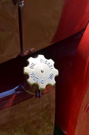 Brass diesel oil fuel filler cap. Banco de Imagens