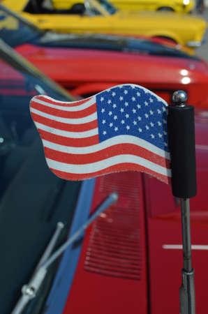 American flag on car aerial.