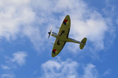 Second World War British Spitfire aircraft taking part in the Battle of Britain 75th anniversary flypast over Southern England.