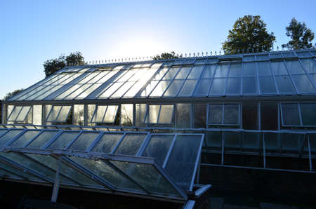 Exterior of a large Victorian style greenhouse.