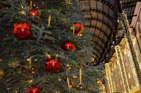 Christmas tree glass bauble decorations. Banco de Imagens