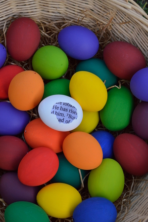 risen christ: Easter eggs with bible message
