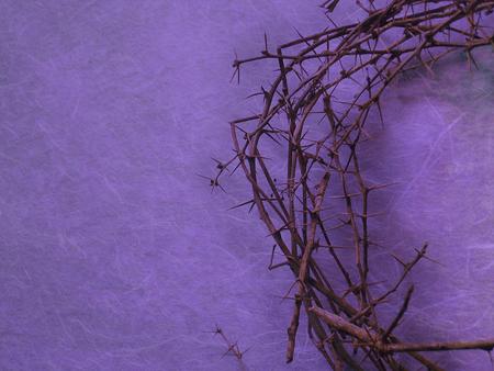 pasen schaap: hielp doornenkroon op paarse achtergrond met negatieve ruimte aan de linkerkant Stockfoto