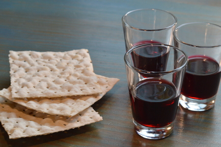 The Lord's Supper with bread and wine