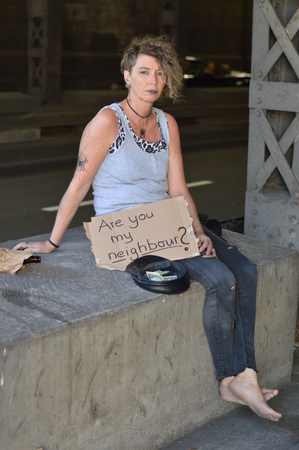 Alcohol addicted, homeless woman. Stock Photo