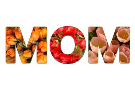 The word MOM cut out of different flowers for mother's day