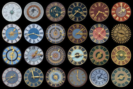 Collection of multicolored ancient church tower clocks in different sizes and forms with roman numbers in regular rows on black background