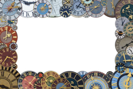 frame out of a collection of multicolored ancient church tower clocks in different sizes and forms with roman numbers isolated around blank white copy space in the middle
