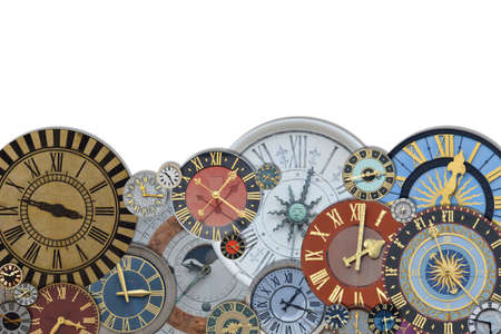 border out of a collection of multicolored ancient church tower clocks in different sizes and forms with roman numbers isolated with blank white copy space above